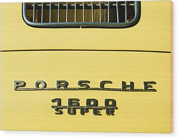 Porsche 1600 Super Rear Emblem Wood Print by Jill Reger