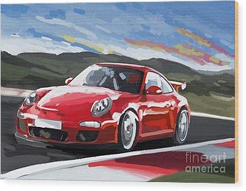 Porsche 911 Gt3 Impressionist Wood Print