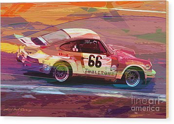 Porsche 911 Racing Wood Print by David Lloyd Glover