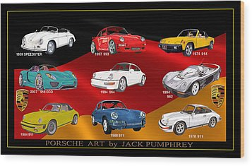 Porsche Times Nine Wood Print