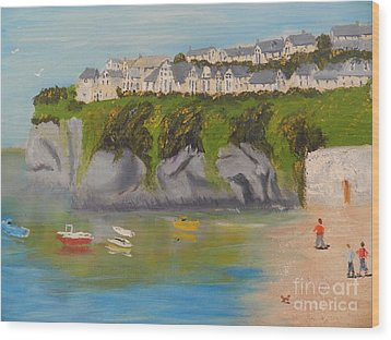 Wood Print featuring the painting Port Asaac Cornwell by Pamela  Meredith