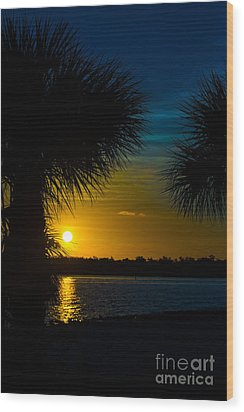 Port Charlotte Beach Sunset In January Wood Print by Anne Kitzman