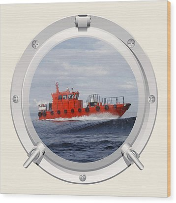 Port Hole View Wood Print by Roy  McPeak