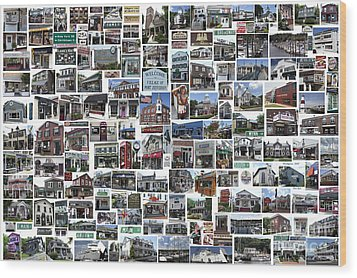 Port Jefferson Photo Collage Wood Print