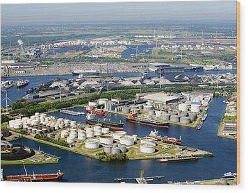 Port Of Amsterdam, Amsterdam Wood Print by Bram van de Biezen