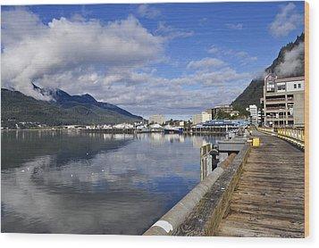 Port Of Juneau Wood Print by Cathy Mahnke