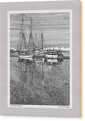 Reflections Of Port Orchard Washington Wood Print by Jack Pumphrey