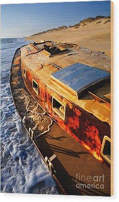 Port Side Down Captain - Outer Banks Wood Print by Dan Carmichael