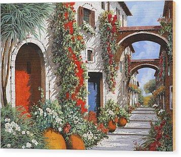 Porta Rossa Porta Blu Wood Print by Guido Borelli