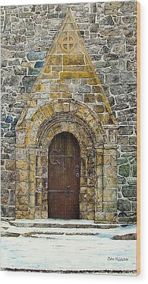 Portal Of St. Lachtain Wood Print by John Walsh