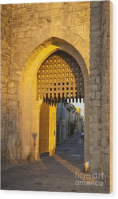 Portcullis Aigues-mortes  Languedoc-roussillon France Wood Print by Colin and Linda McKie