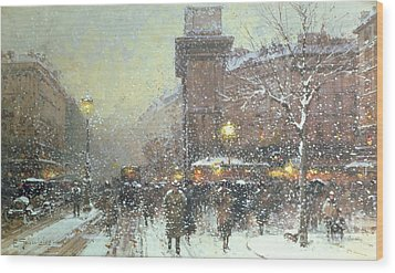 Porte St Martin In Paris Wood Print by Eugene Galien Laloue