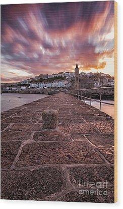 Porthleven Pier Sunrise Wood Print by John Farnan