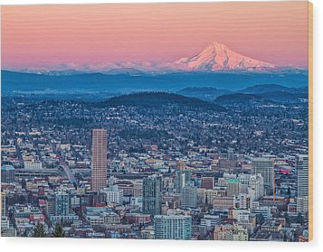 Portland And Mt Hood Wood Print by Patricia Davidson