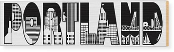 Portland City Skyline Text Outline Illustration Wood Print by JPLDesigns