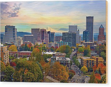Portland Downtown Cityscape In The Fall Wood Print