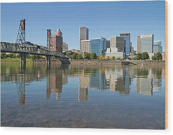 Wood Print featuring the photograph Portland Downtown Skyline And Hawthorne Bridge by JPLDesigns