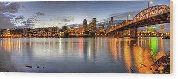 Portland Downtown Skyline Night Panorama 2 Wood Print