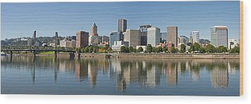Wood Print featuring the photograph Portland Downtown Waterfront Skyline Panorama by JPLDesigns