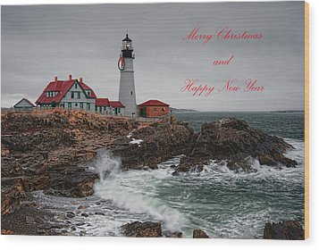Wood Print featuring the photograph Portland Head Light At Christmas by Richard Bean