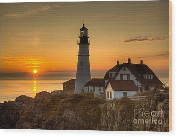 Portland Head Light At Sunrise II Wood Print