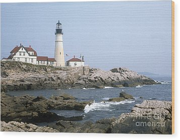 Portland Head Light Wood Print by ELDavis Photography