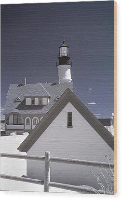 Portland Head Light In Ir Wood Print by Joann Vitali