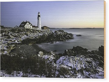 Portland Head Lighthouse At Dawn Wood Print by Betty Denise