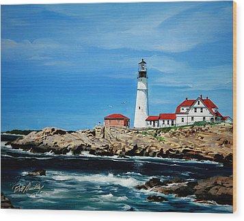 Portland Head Lighthouse Wood Print by Bill Dunkley