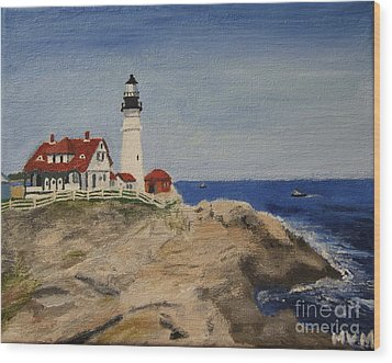 Portland Head Lighthouse In Maine Wood Print