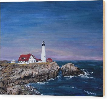 Portland Head Lighthouse Wood Print by Jack Skinner