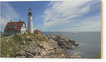 Portland Head Lighthouse Panoramic Wood Print by Mike McGlothlen