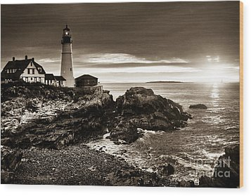 Wood Print featuring the photograph Portland Head Lighthouse Sunrise by Alana Ranney