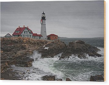 Portland Headlight @ Christmas Wood Print