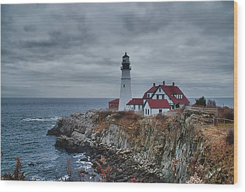 Wood Print featuring the photograph Portland Headlight 14440 by Guy Whiteley