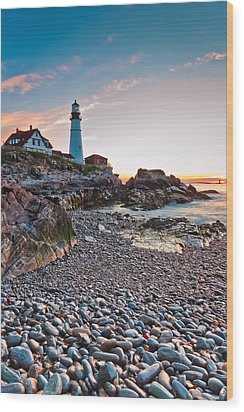 Portland Headlight Dawn Wood Print
