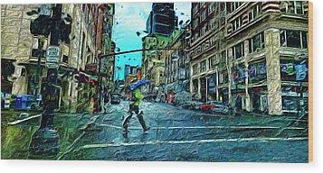 Portland In The Rain Wood Print by Cary Shapiro