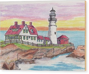 Portland Me Lighthouse Wood Print by Paul Meinerth