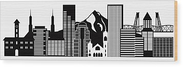 Portland Oregon Skyline Black And White Illustration Wood Print by JPLDesigns