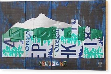 Portland Oregon Skyline License Plate Art Wood Print by Design Turnpike