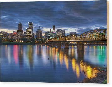 Portland Oregon Waterfront At Blue Hour Wood Print by David Gn