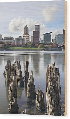 Portland Oregon Waterfront Wood Print by JPLDesigns