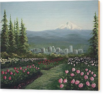 Portland Rose Garden Wood Print by Kenny Henson