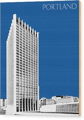 Portland Skyline Wells Fargo Building - Royal Blue Wood Print by DB Artist