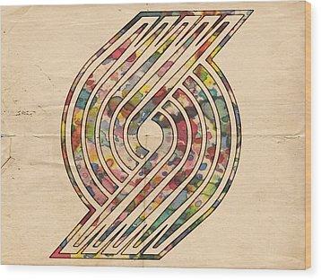 Portland Trailblazers Poster Art Wood Print by Florian Rodarte