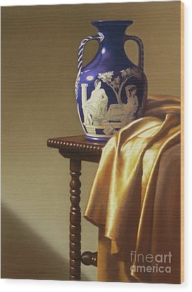 Portland Vase With Cloth Wood Print by Barbara Groff