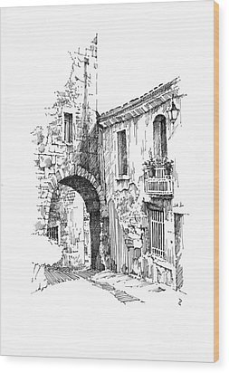 Wood Print featuring the drawing Portmerion by Paul Davenport