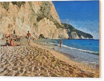 Porto Katsiki Beach In Lefkada Island Wood Print by George Atsametakis