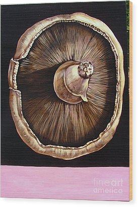 portobello in Fushia Wood Print by Shelley Laffal