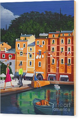 Portofino Art Print Wood Print by William Cain